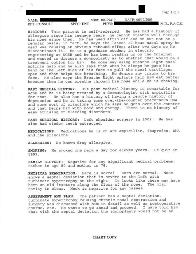 Medical Report 06/17/03, Page 1