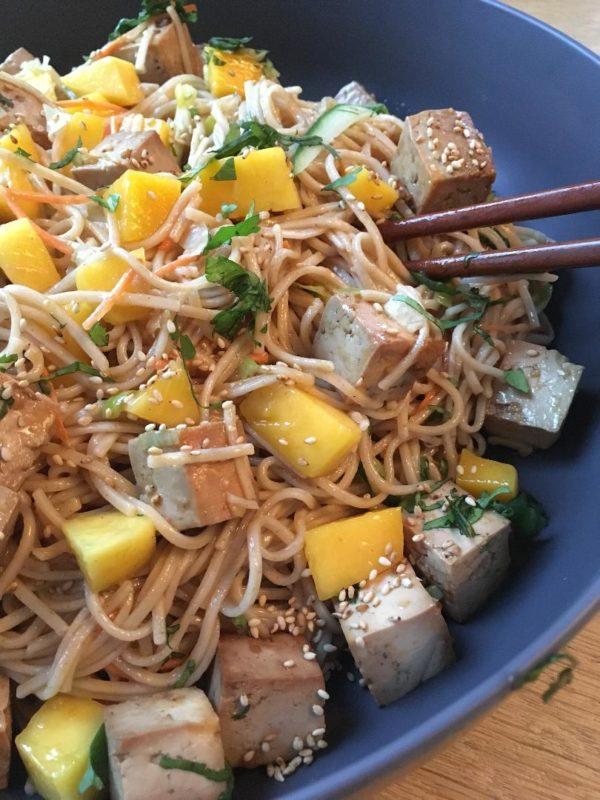 Citrus Ginger Tofu Soba Noodle Salad