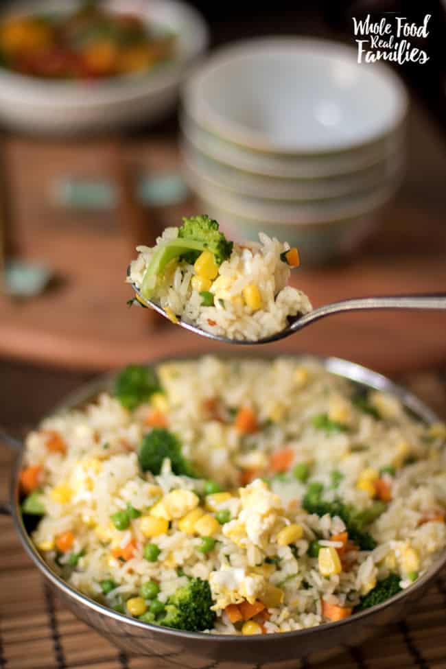 This healthy fried rice recipe is so simple to make and tastes delicious. It is a great shortcut recipe for weeknight dinners!