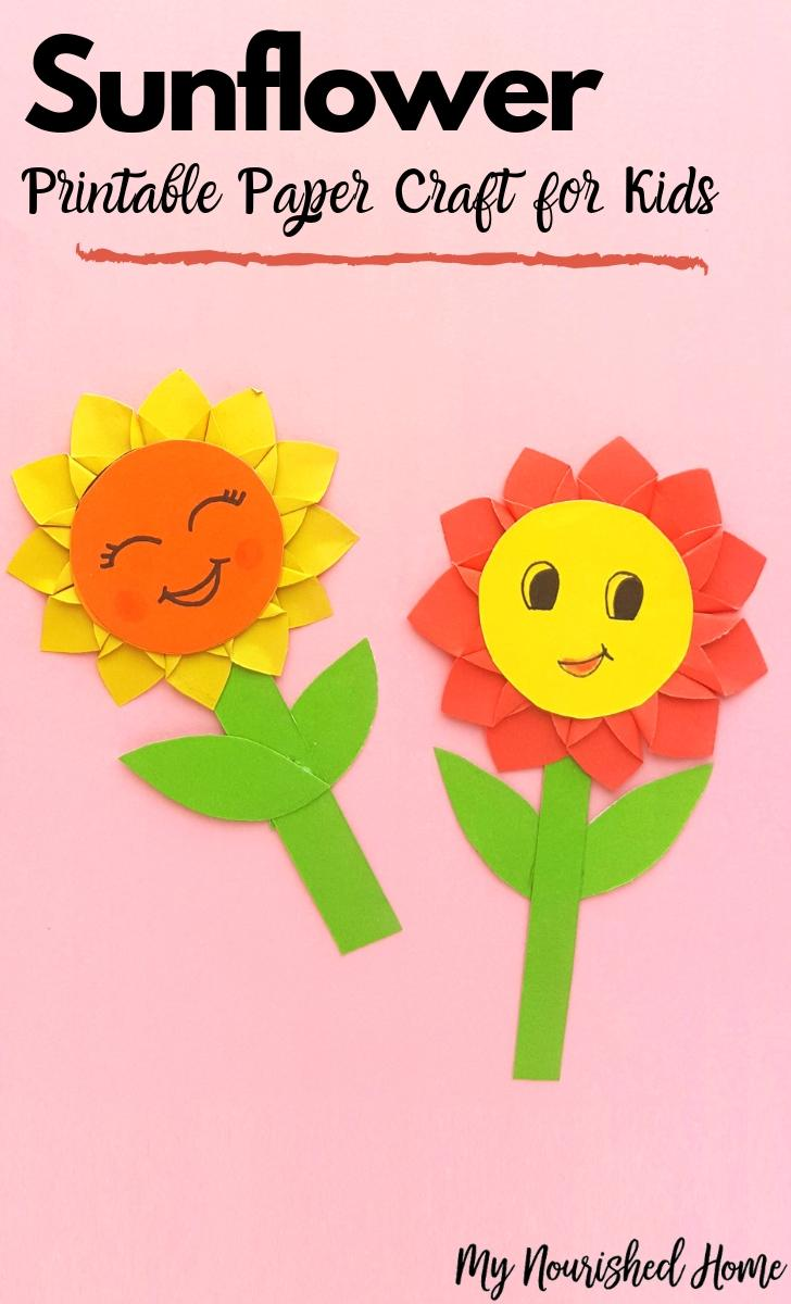 Sunflowers commonly bloom during summer and a portion of fall with the middle of summer being t. Paper Sunflower Craft For Kids My Nourished Home