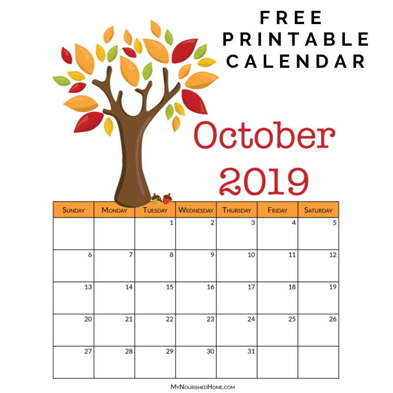 Printable October Calendar | My Nourished Home