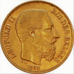 20 Francs Leopold II guldmynt