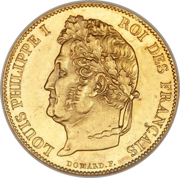 20 Francs Ludvig Filip I guldmynt
