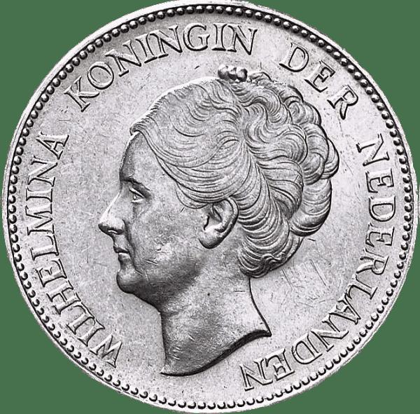 1 Gulden Vilhelmina silvermynt - Drottning av Nederländerna