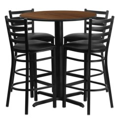 Kitchen Table Stools Cabinet Refacing Diy Bar Height Round Dining Set With 4 Stool Chairs 30 Walnut Laminate Of1hdbf1024