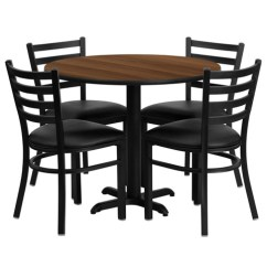 Round Table And Chairs Set Blue Metal Cafeteria Breakroom Dining Sets Restaurant Tables 36 Inch Walnut Laminate Chair With 4 Black Of1hdbf1032