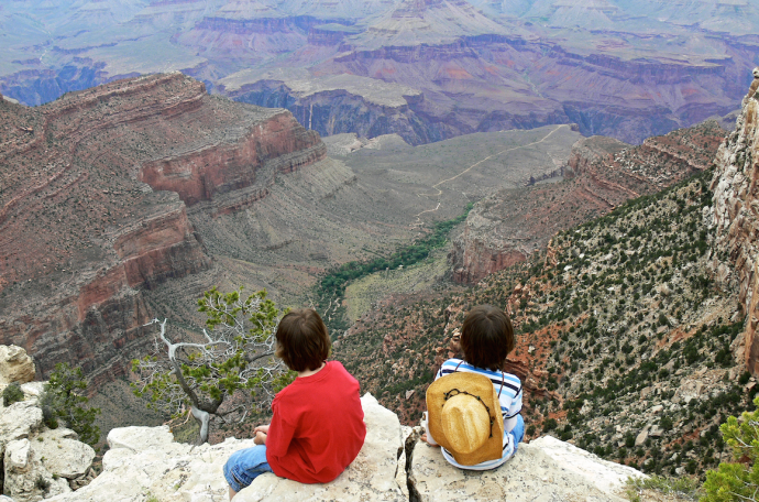 Ben and Harry Gow looking out over the Grand Canyon, aged 10 and 7, by Melanie Gow