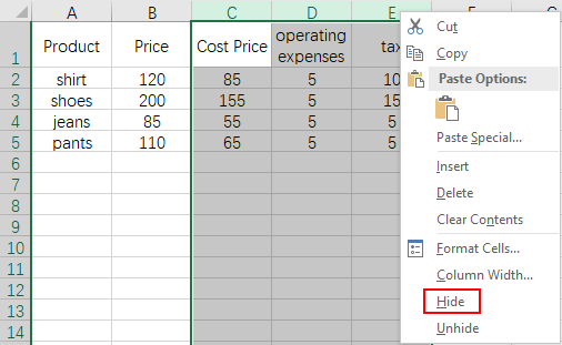 How to Quick Hide or Unhide Rows and Columns in MS Excel