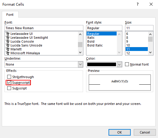 How to Insert a Superscript in Microsoft Excel