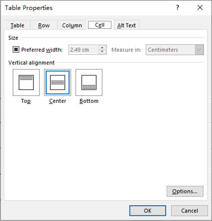 How to Center the Text in Tables of Word 2016