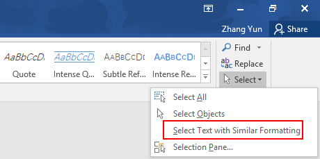 How to Batch Select Text with Similar Formatting in Microsoft Word