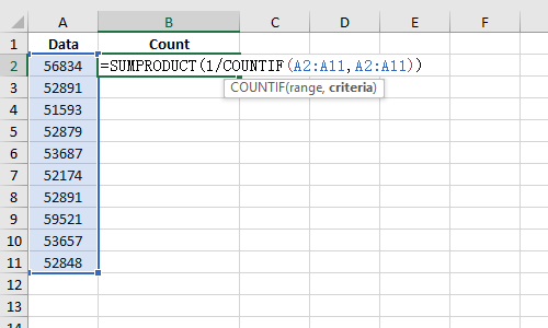How to Count the Non Repeating Data in MS Excel