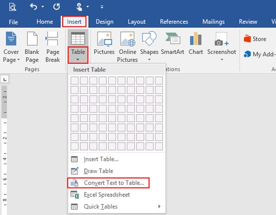 Convert Text to a Table with Tab Button in Microsoft Word