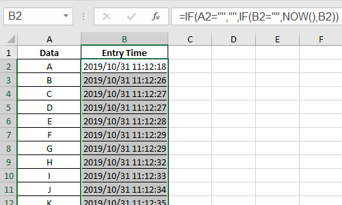 How to Automatically Record the Data Entry Time in Excel