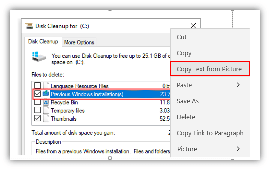 How to Copy Text from a Picture with OneNote in Windows 10