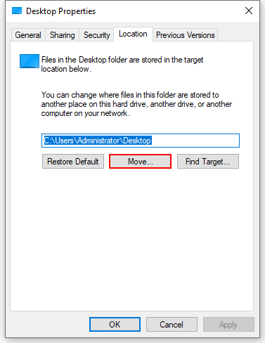 How to Change the Location of Desktop Folder in Windows 10