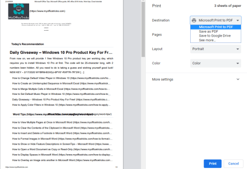 How to Print Out Specific Web Pages in Google Chrome