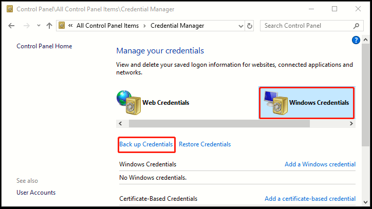 How to Back Up Stored Logon Credentials in Windows 10