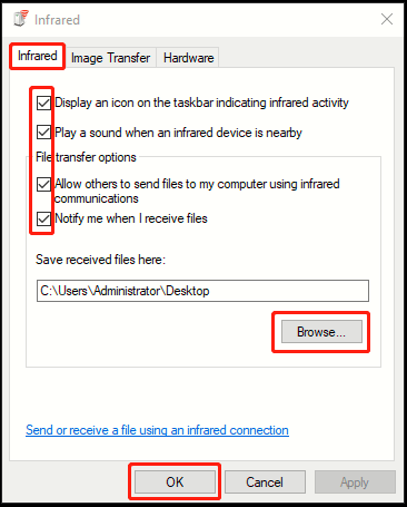 How to Enable Infrared Files Transfer in Windows 10