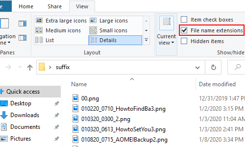 How to Modify the Name Extensions of a Batch of Files in Win 10