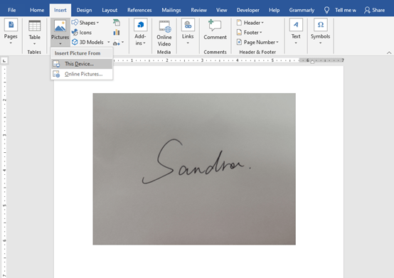 How to Make an Electronic Version of Handwritten Signature in Word