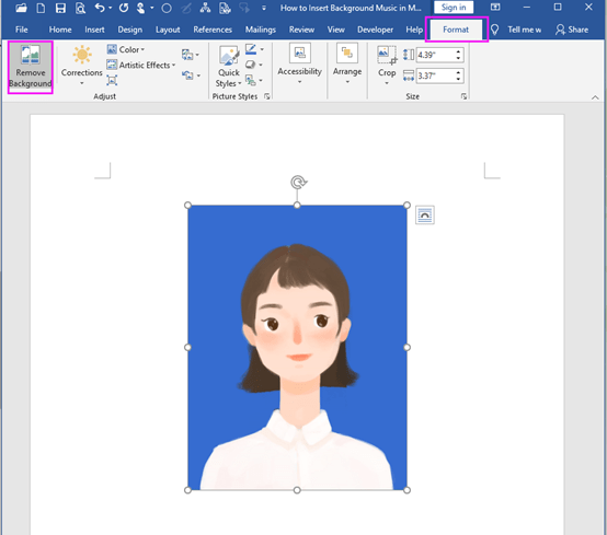 How to Change the Background Color of the ID Photo in Word?
