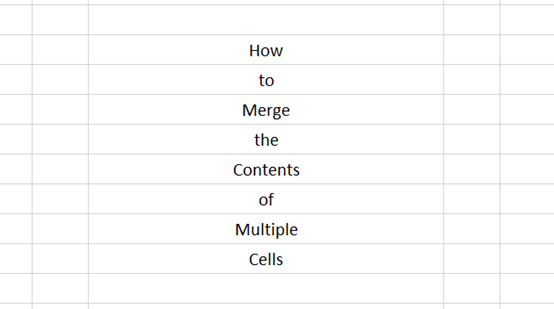 How To Merge The Contents Of Multiple Cells