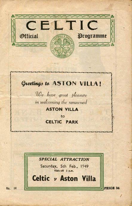Aston Villa vs Celtic programme 1949