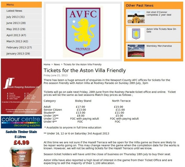 NewportCounty Villa tickets