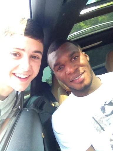 Aston Villa supporter Cameron Burrows and Christian Benteke
