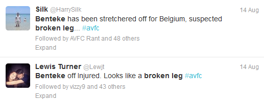 benteke broken leg twitter