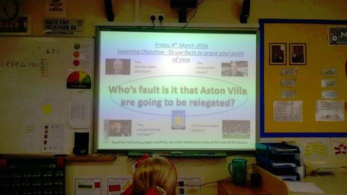 teaching aston villa at school relegated
