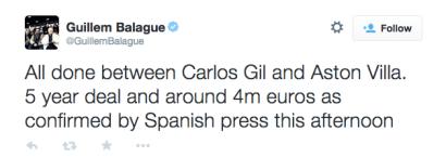 Carles Gil deal confirmed for Aston Villa
