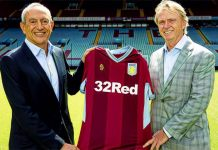 Wes Edens and Nassef Sawiris with Aston Villa shirt