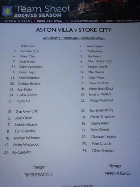 tim sherwood first teamsheet