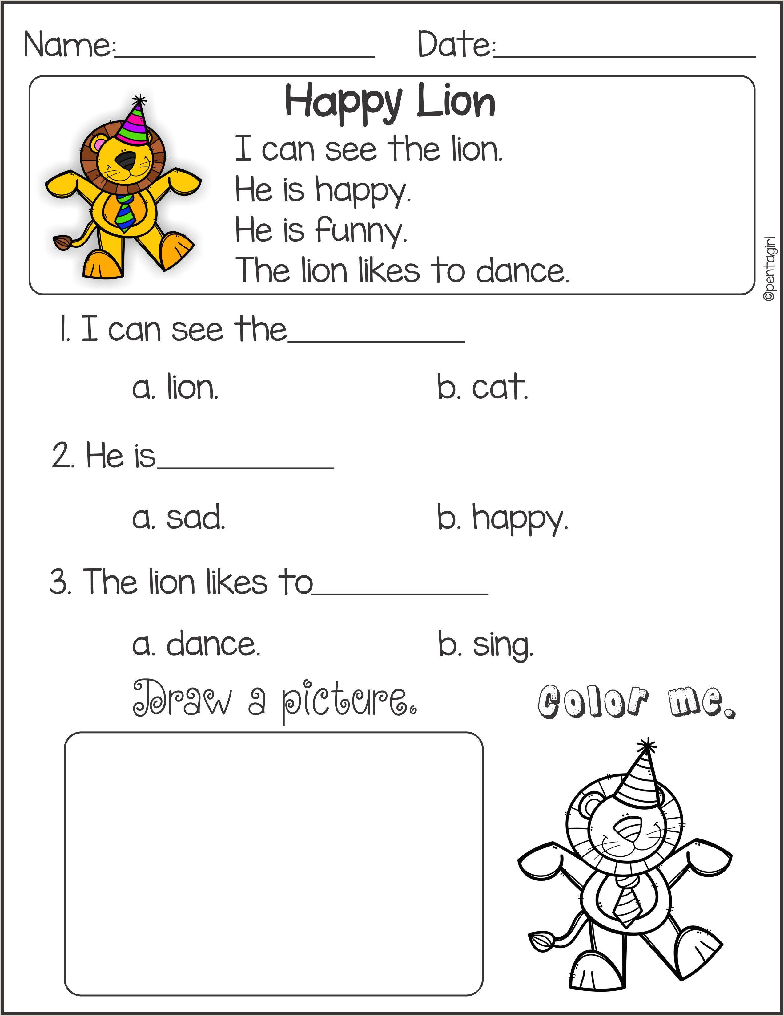 Reading Comprehension Kindergarten Worksheets