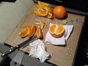 Eating healthy; fresh orange snack