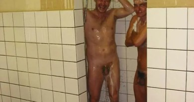 mature sportsmen naked in showers, cock exposed