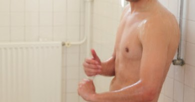 Soccer player naked in showers
