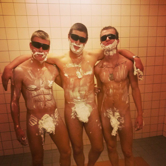 military buddies in showers