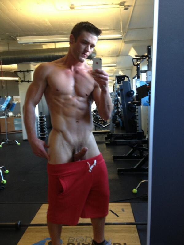 Flashing hard cock at gym