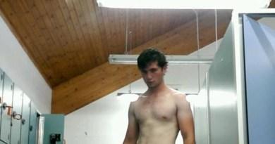 Hot guy hardon in the locker room