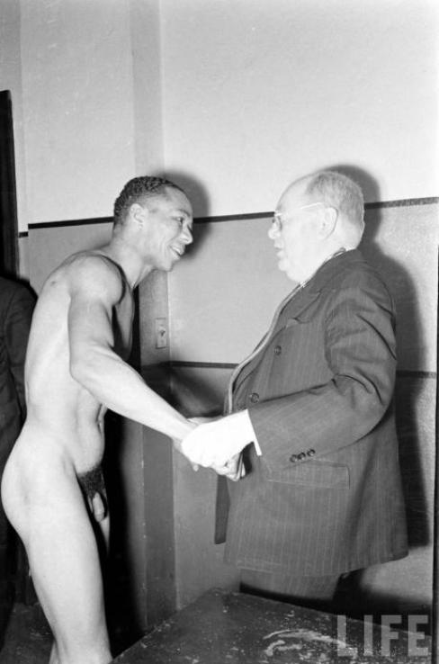 vintage locker room naked black boxer