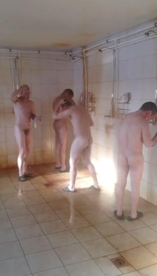soldiers showering