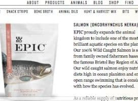 Screenshot of the Epic page where they discuss their Epic Salmon Maple Coconut Oil Bites product. These sun dried salmon bites are designed to be sourced from high quality sustainably caught alaskan salmon, with only Paleo approved sweeteners. These preserved salmon bites are glazed in maple sugars, but hopefully only lightly.