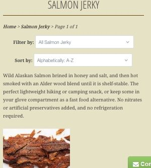 Screenshot of the Loki Salmon Co website - this Alaskan Pink Salmon Jerky dried fish product is made with honey instead of sugar, so technically is sugar free. This salmon Jerky is a good option when considering choosing a fish jerky.