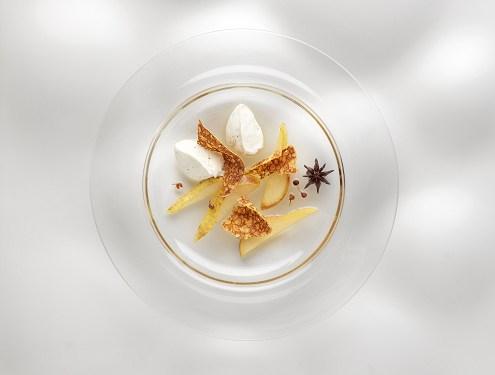 poires rôties aux épices à la crème de Saint Moret