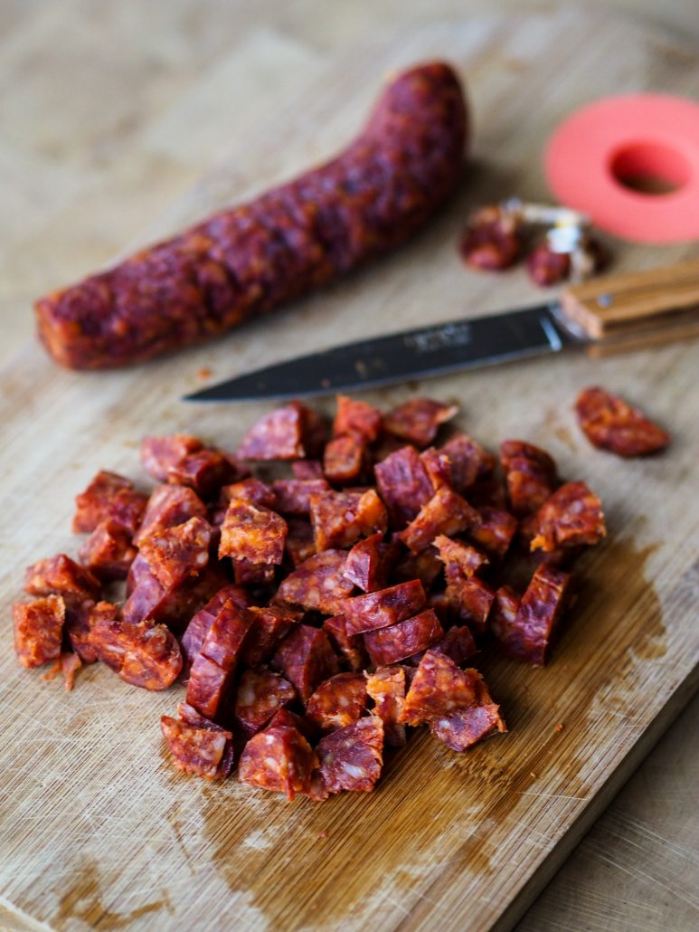 chorizo and French Lagiole knife