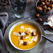 Pumpkin soup with cream and gingerbread croutons