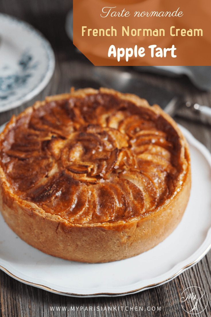 French tarte normande apple tart with creamy custard from Normandy